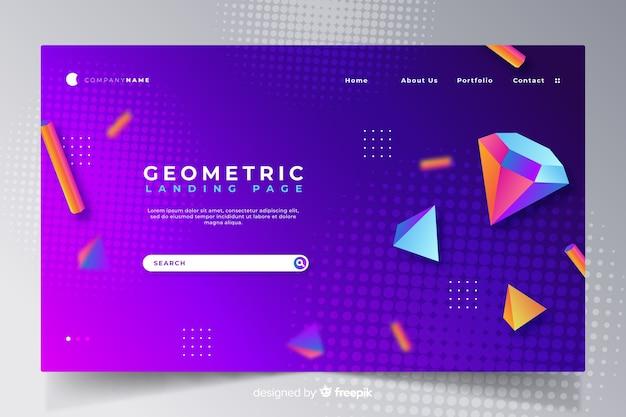 Modelo de página de destino geométrico 3d