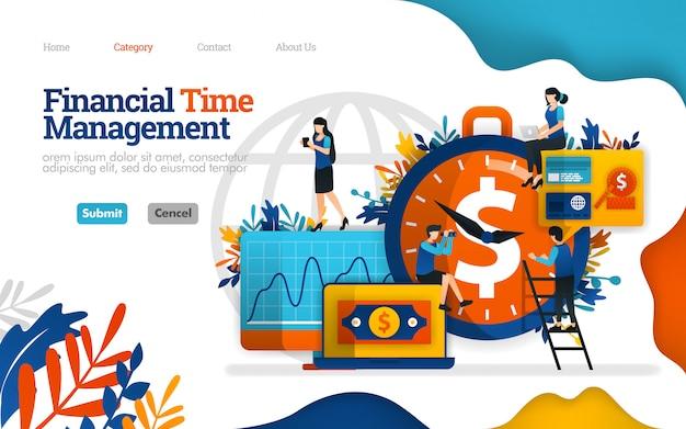Modelo de página de destino. gestão financeira de tempo. melhor parceiro de investimento é o tempo. ilustração vetorial