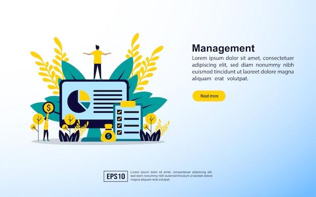Modelo de página de destino. gestão