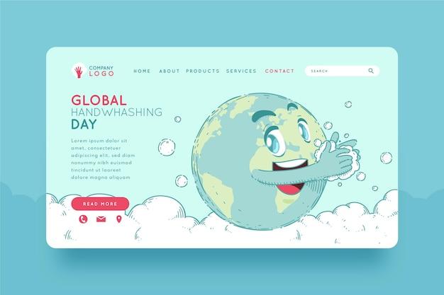 Modelo de página de destino global desenhado à mão para o dia da lavagem das mãos