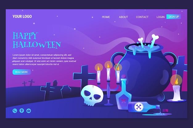 Modelo de página de destino gradiente de halloween