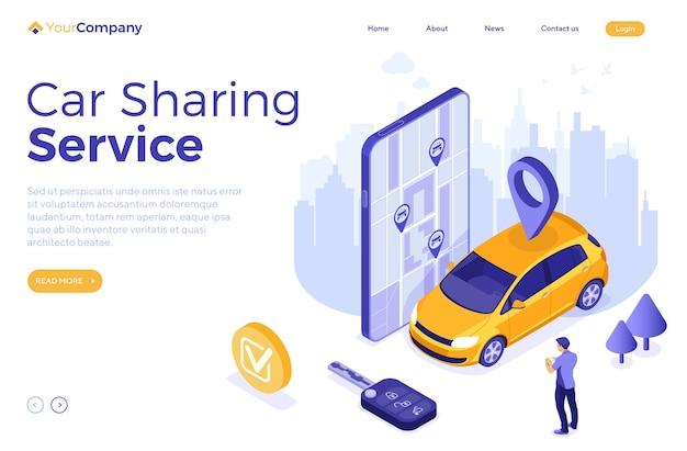 Modelo de página de destino homem isométrico online escolher carro para compartilhamento de carros