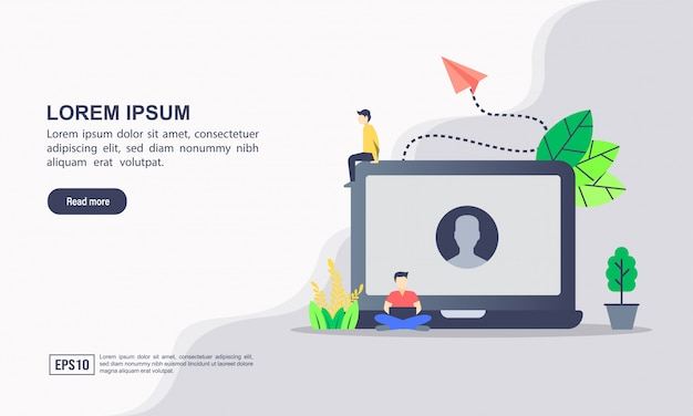 Modelo de página de destino. ilustração em vetor de conta & conta de perfil ou conceito de solução de software com o conceito de usuário e mídia