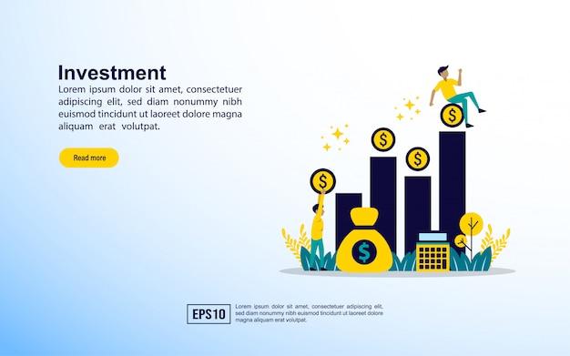 Modelo de página de destino. investimento
