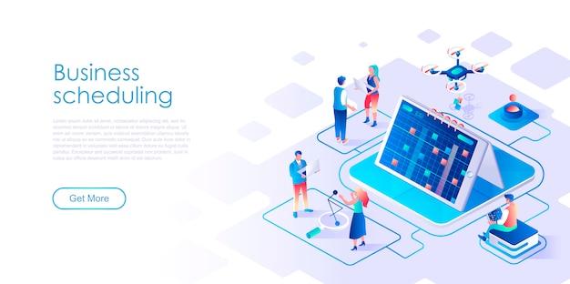 Modelo de página de destino isométrica de agendamento de negócios