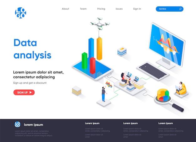 Modelo de página de destino isométrica de análise de dados