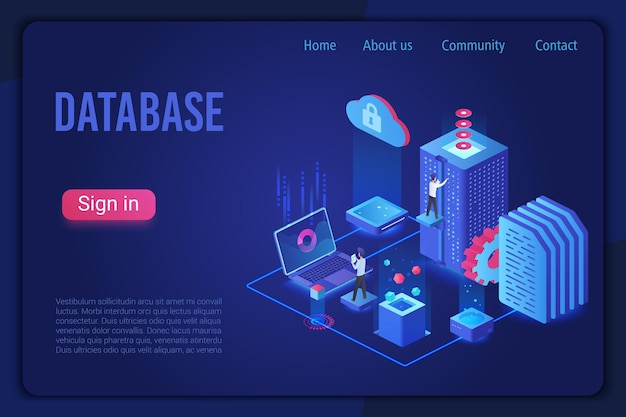Modelo de página de destino isométrica de armazenamento de dados luz neon escura