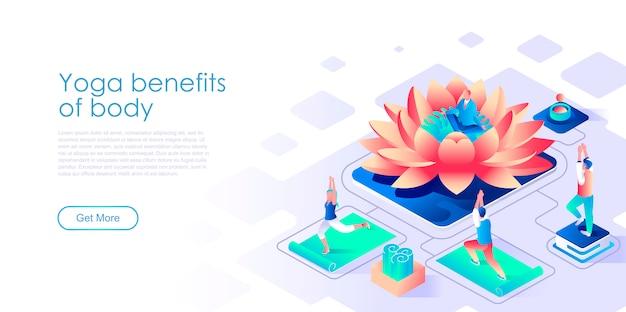 Modelo de página de destino isométrica de benefícios de ioga para corpo