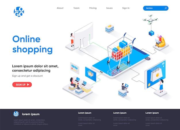 Modelo de página de destino isométrica de compras online