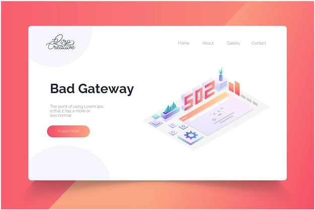 Modelo de página de destino isométrica de conceito de gateway inválido