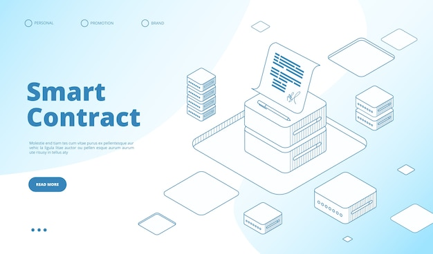 Modelo de página de destino isométrica de contrato inteligente