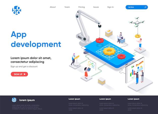 Modelo de página de destino isométrica de desenvolvimento de aplicativo