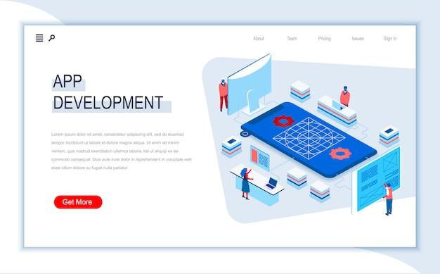 Modelo de página de destino isométrica de desenvolvimento de aplicativos.