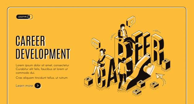 Modelo de página de destino isométrica de desenvolvimento de carreira