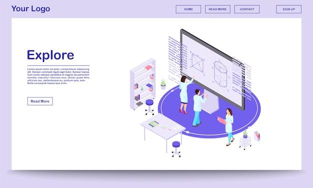Modelo de página de destino isométrica de exploração científica. matemáticos dos desenhos animados, analisando dados na tela interativa com opções de realidade aumentada. trabalhadores de laboratório de pesquisa. teóricos estudando modelos 3d