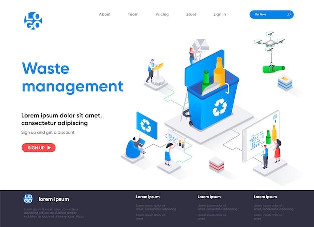 Modelo de página de destino isométrica de gerenciamento de resíduos
