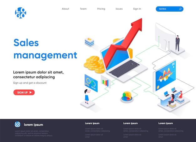 Modelo de página de destino isométrica de gerenciamento de vendas