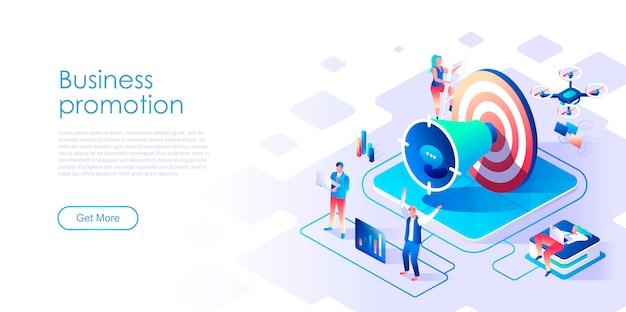 Modelo de página de destino isométrica de promoção de negócios