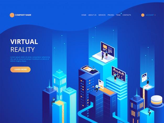 Modelo de página de destino isométrica de realidade virtual