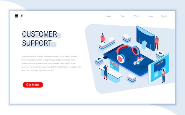 Modelo de página de destino isométrica de suporte ao cliente.