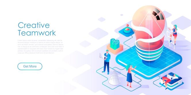 Modelo de página de destino isométrica de trabalho em equipe criativa