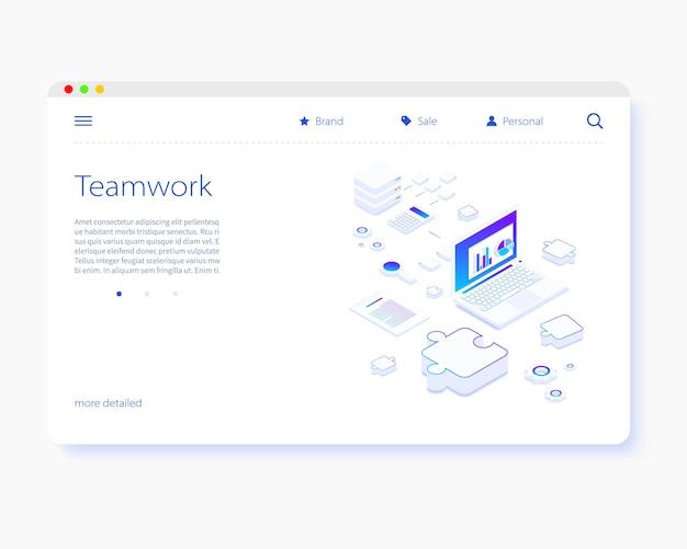 Modelo de página de destino isométrica de trabalho em equipe