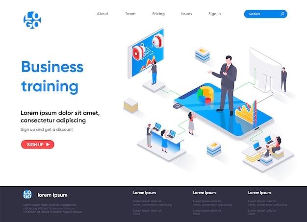 Modelo de página de destino isométrica de treinamento empresarial