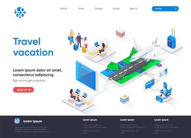 Modelo de página de destino isométrica de viagens e férias