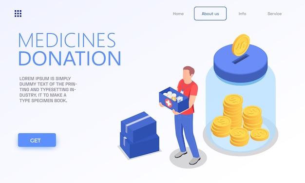 Modelo de página de destino isométrica de voluntariado para doação de caridade