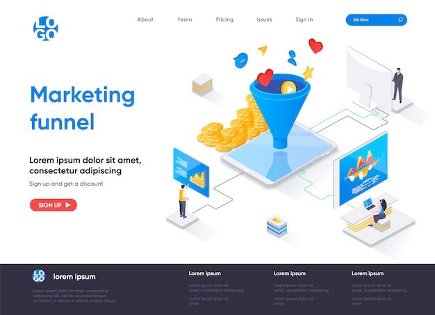 Modelo de página de destino isométrica do funil de marketing