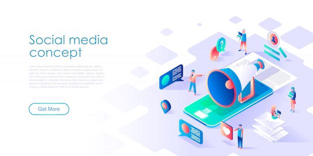 Modelo de página de destino isométrica mídia social