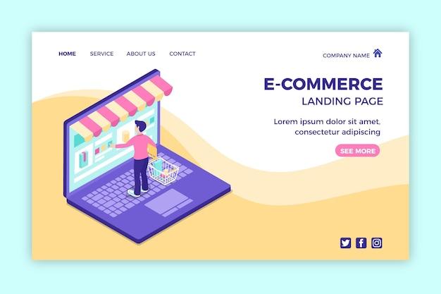 Modelo de página de destino isométrica para comércio eletrônico