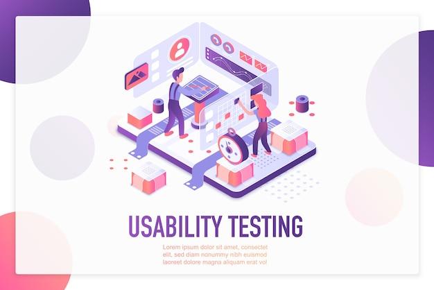Modelo de página de destino isométrica para teste de usabilidade.