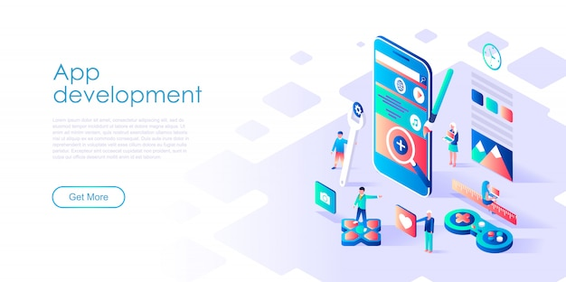 Modelo de página de destino isométrico app development