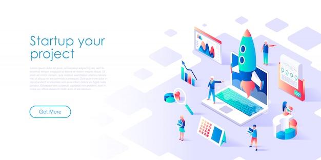 Modelo de página de destino isométrico startup your project