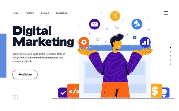 Modelo de página de destino marketing digital em estilo de design plano