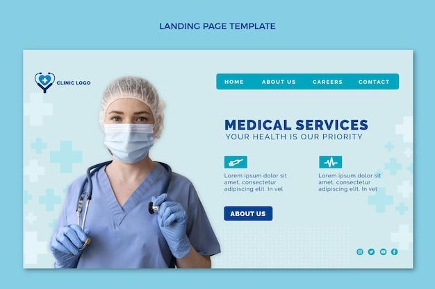 Modelo de página de destino médica de design plano