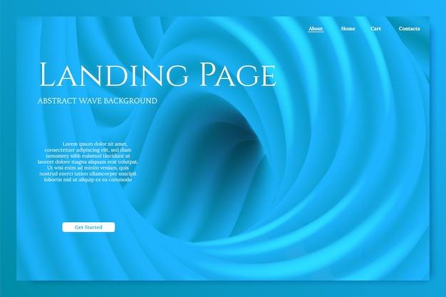 Modelo de página de destino minimalista azul abstrato 3d fundo ondulado com espaço de texto