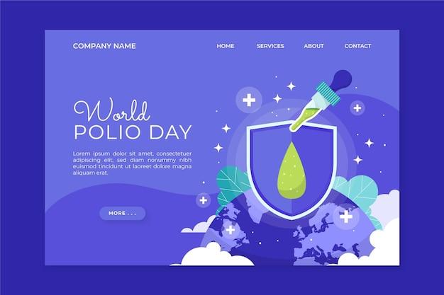 Modelo de página de destino mundial plana desenhada à mão para o dia da pólio