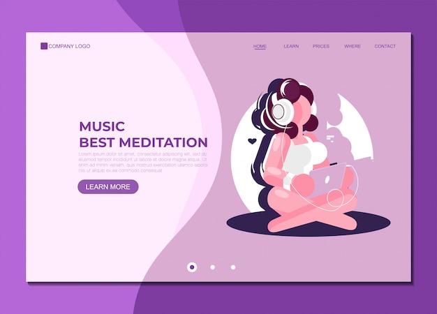 Modelo de página de destino música melhor meditação