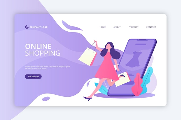 Modelo de página de destino on-line de compras de design plano