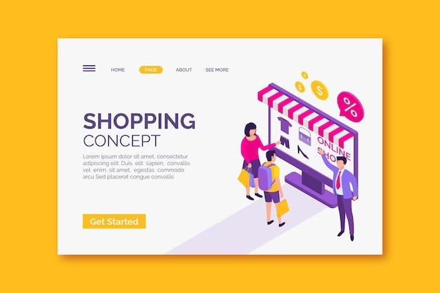Modelo de página de destino on-line de compras ismoétricas