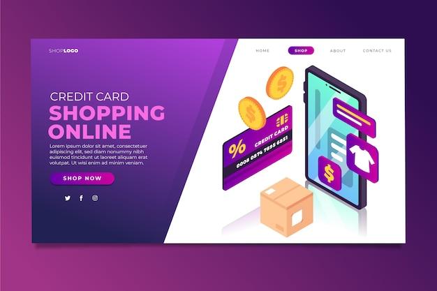 Modelo de página de destino on-line de compras isométrica