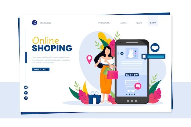 Modelo de página de destino on-line de compras