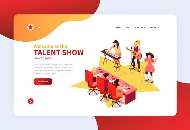 Modelo de página de destino ou site com ilustração isométrica de conceito de show de talentos conjunto com concorrentes de bandas de rock se apresentando perante os jurados