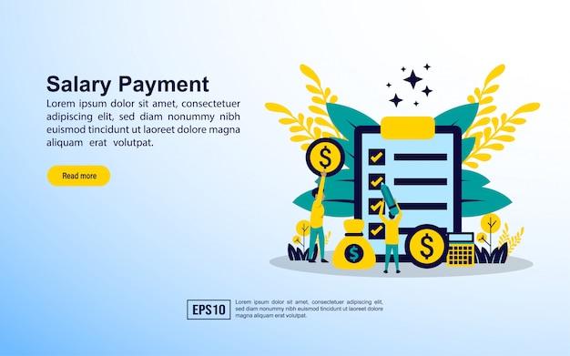 Modelo de página de destino. pagamento de salário