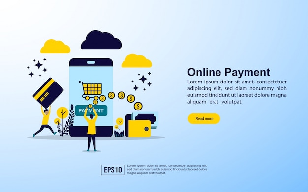 Modelo de página de destino. pagamento online