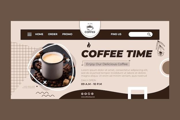 Modelo de página de destino para a hora do café