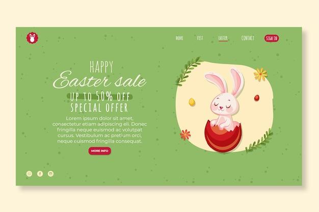 Modelo de página de destino para a páscoa com coelho