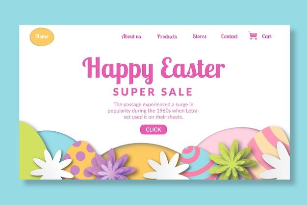 Modelo de página de destino para a páscoa com ovos e flores